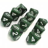 Green & Black 'Recon' Speckled D10 Ten Sided Dice Set